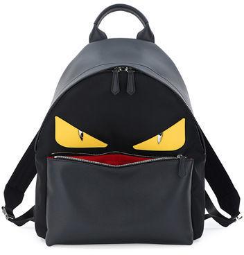 a5acc81334d ... Neiman Marcus › Fendi › Black Backpacks Fendi Monster Eyes Leathernylon  Backpack ...
