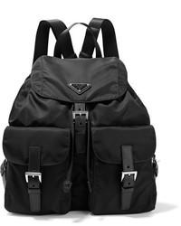 Prada Vela Large Leather Trimmed Shell Backpack Black