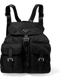 Prada Vela Large Leather Trimmed Shell Backpack Black