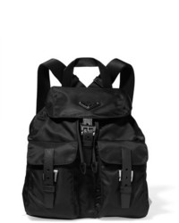 Prada Vela Small Textured Leather Trimmed Shell Backpack Black
