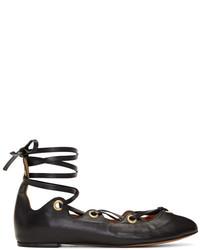 Isabel Marant Black Leomia Lace Up Ballerina Flats
