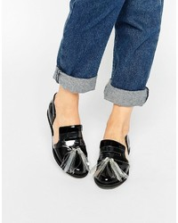 House of Holland Black Tassel Cut Out Flat Shoes