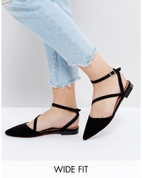 Asos Ludlow Wide Fit Asymmetric Pointed Ballet Flats