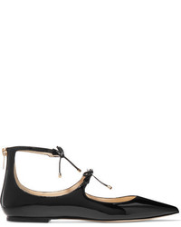 Jimmy Choo Sage Patent Leather Point Toe Flats Black