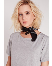 Missguided Print Bandana Neckerchief Black