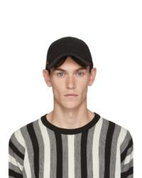 Paul Smith Black Flecked Wool Artist Stripe Baseball Cap