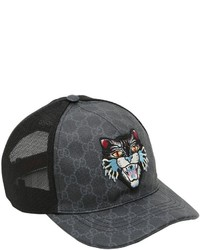 Gucci Logo Print Baseball Cap Out of stock · Gucci Coated Original Gg Cat  Patch Trucker Hat 86360f994680