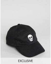 Reclaimed Vintage Inspired Baseball Cap With Skull Embroidery