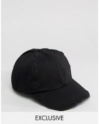 Reclaimed Vintage Inspired Distressed Baseball Cap Black