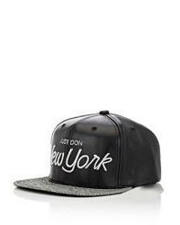 Just Don Leather Suede Baseball Cap Black