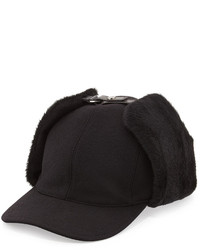 Leather and shearling trapper baseball cap black medium 305162