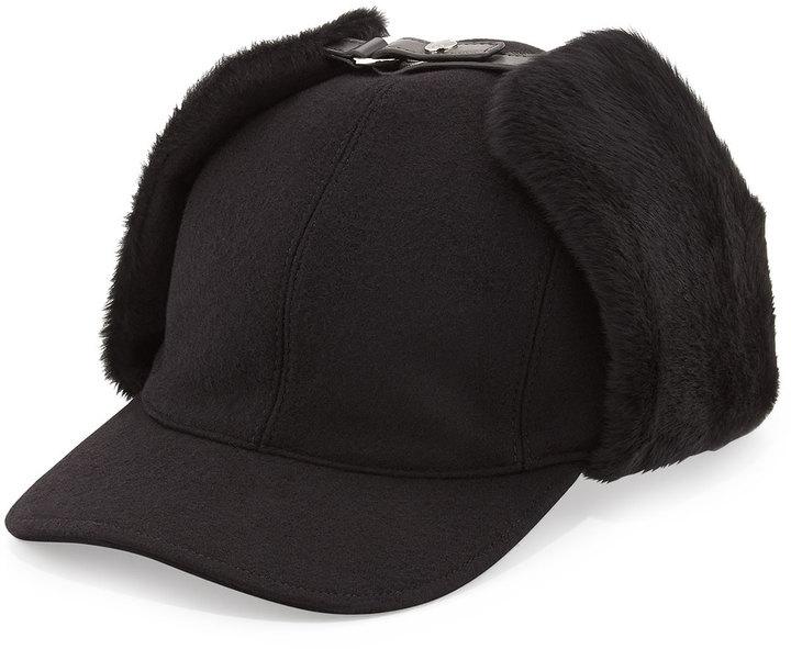 ... Prada Leather And Shearling Trapper Baseball Cap Black ... f4e5ac93a8cd