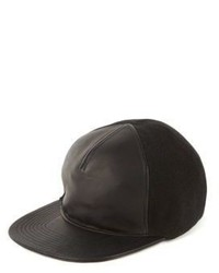 Balmain Leather Canvas Baseball Cap