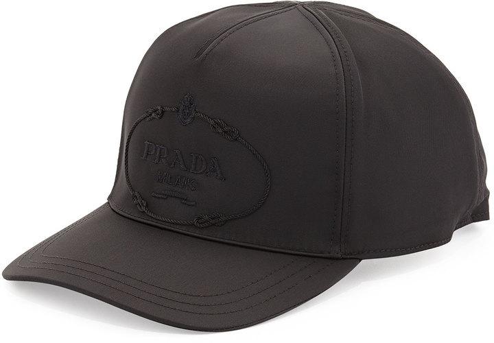 177e0eef4 Prada Nylon Logo Baseball Cap Black, $300   Neiman Marcus ...