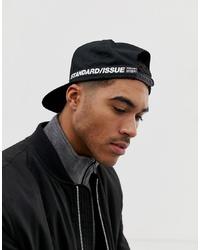 ASOS DESIGN Snapback Cap In Black With Taping Detail