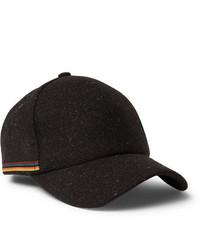 Paul Smith Stripe Trimmed Wool Tweed Baseball Cap