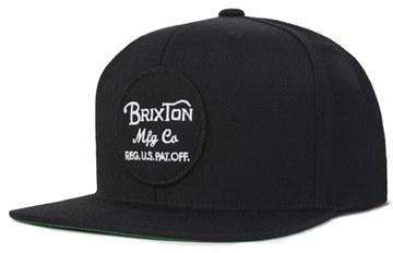 9e30eb22041 ... Brixton Wheeler Snapback Cap Black ...
