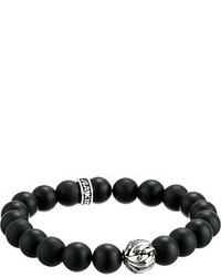 King Baby Studio 10mm Onyx Bracelet With Silver Feather Bead