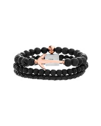 Steve Madden Bead Leather Bracelet Set