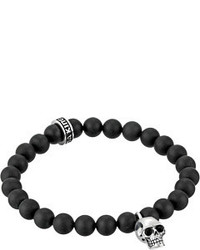 King Baby Studio Black Onyx Bead And Silver Skull Bracelet Bracelet