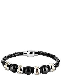 Crucible Crucible Stainless Steel And Leather Bead Maze Bracelet Black