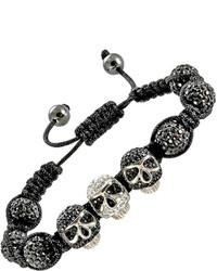 Asstd National Brand Crystal Skulls Beads Hematite Bracelet