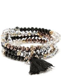 LuLu*s Drop The Bead Black Beaded Tassel Bracelet