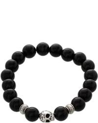 jcpenney Fine Jewelry Dee Berkley Genuine Black Agate Bead Skull Stretch Bracelet