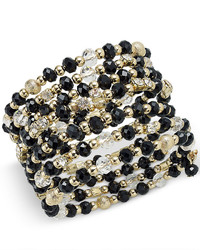 INC International Concepts Gold Tone Black And Metal Bead Coil Bracelet Only At Macys