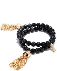 Granite Me A Wish Gold And Black Bracelet Set