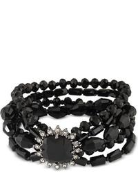 Carolee Hematite Tone Jet Stone And Beaded Multi Layer Bracelet