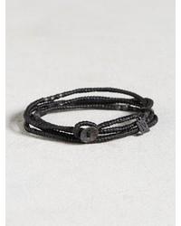 John Varvatos Waxed Knotted Cord Skull Wrap Bracelet