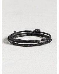 John Varvatos Waxed Knotted Cord Skull Wrap Bracelet