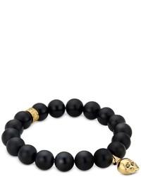 Northskull Matte Black Onyxgold Skull Bracelet With Black Crystal