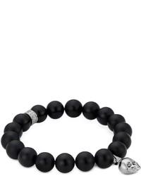 Northskull Matte Black Onyxsilver Skull Bracelet With Black Crystal