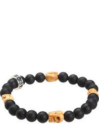 King Baby Studio Onyx Bead Bracelet With 4 Bone Skull Stations