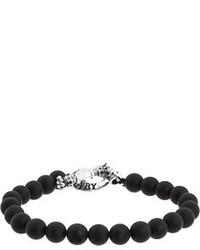 King Baby Studio Onyx Bead Bracelet With Silver Clasp Bracelet