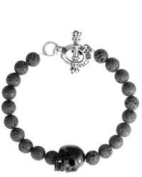 King Baby Studio Onyx Bead Skull Bracelet