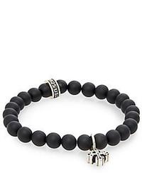 King Baby Studio Onyx Beaded Sterling Silver Cross Bracelet
