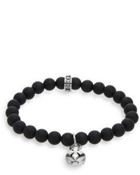 King Baby Studio Onyx Sterling Silver Beaded Cross Button Charm Bracelet