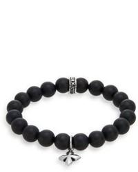 King Baby Studio Onyx Sterling Silver Beaded Cross Charm Bracelet