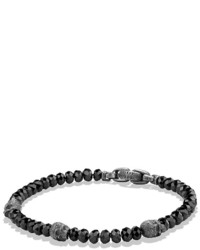 David Yurman Spiritual Beads Skull Station Bracelet In Black Spinel