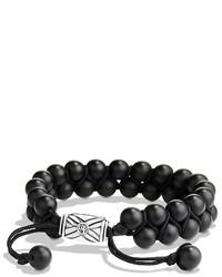 David Yurman Spiritual Beads Two Row Bracelet With Black Onyx