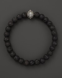 John Hardy Sterling Silver Classic Chain Large Beaded Bracelet With Black Volcanic Rock