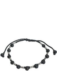Jan Leslie Sterling Silver Rivet Onyx Bead Bracelet