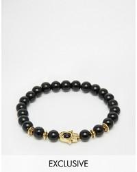 Reclaimed Vintage Stone Beaded Bracelet In Black