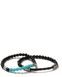Topman Turquoise And Black Beaded Bracelet 2 Pack
