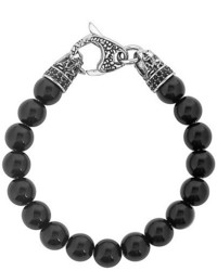 West Coast Jewelry Crucible Stainless Steel Dragon With Polished Black Onyx Beaded Bracelet