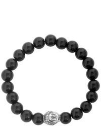 West Coast Jewelry West Coast Jewelry Stainless Steel Polished Buddha And Black Agate Beaded Bracelet