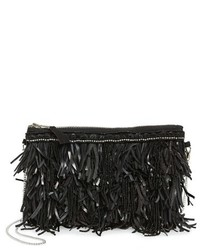 G Lish G Lish Bead Leather Fringe Crossbody Bag White